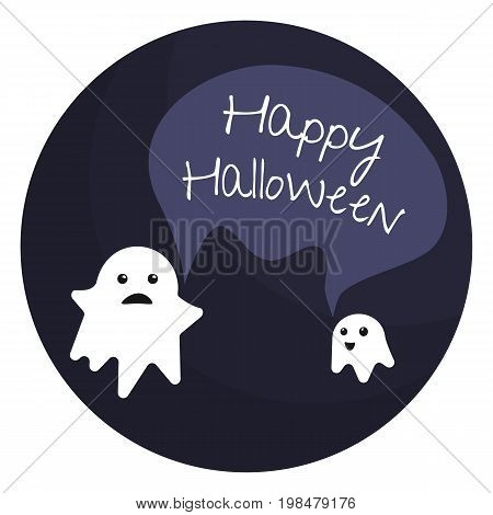 Vector flat happy halloween emblem with two little ghosts and text bubble. Two cute halloween monsters congratulate you