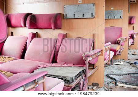 Demolished Train, Color Image, Selective Focus, Horizontal Image