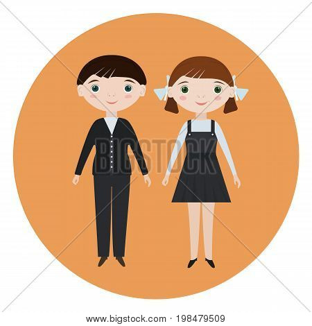 Flat vector isolated smiling schoolboy and schoolgirl. School characters for school posters or Soviet style kids educational books. Elementary primary school pupils in school uniform