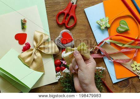 Set for scrapbooking - ribbons, figurines, flowers