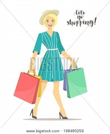 Happy shopper. Beautiful blonde girl holds packages. Big Sale. Vector illustration of a flat design with handwritten calligraphy let's go shopping