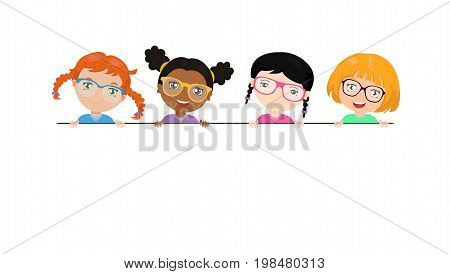 Vector set of multi-ethnic little girls holding a white banner. Funny kids of different races with various hairstyles. Girls in colored glasses