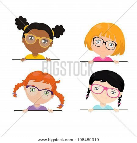 Vector set of multi-ethnic teen girls in white glasses holding white banners. Funny children of different races with different hairstyles.