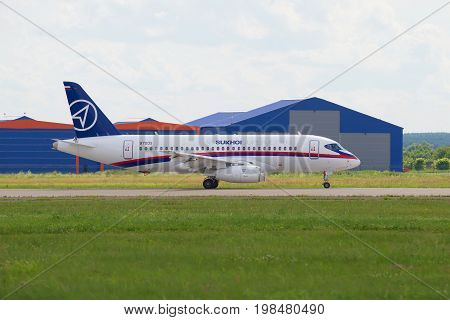 ZHUKOVSKY, RUSSIA - JULY 20, 2017: Passenger aircraft Sukhoi Superjet 100 on the runway of Zhukovsky airport. MAKS-2017, Air Show
