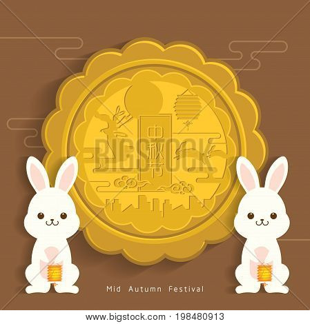Mid-autumn festival illustration of cute bunny with big moon cake. Caption: Mid-autumn festival, 15th august