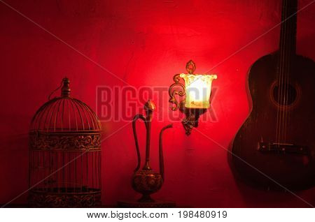 red retro light color image selective focus horizontal image