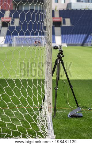 Lisbon, Portugal - july 2016: Devices and Equipments for New Goal Post Line Technologies in Empty Soccer Stadium