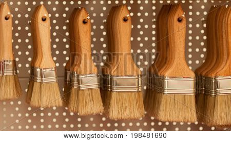 Selection Of Paint Brushes, Color Image, Selective Focus, Horizontal Image