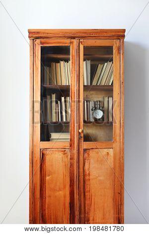 Antique Wooden Case Shelfs Full Ancient Books Wall