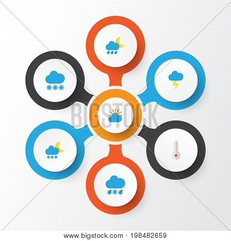 Weather Flat Icons Set. Collection Of Drizzles, Snow, Hailstones And Other Elements