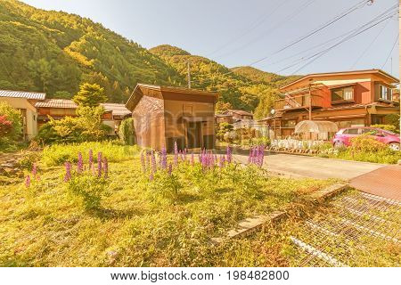 Soft focus of Narai is a small town in Nagano Prefecture Japan The old town provided a pleasant walk through about a kilometre of well preserved buildings.