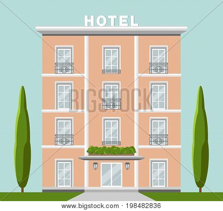 Vector image illustration of hotel, reservation, porter, recreation, building. Flat design in very nice elegant colors, sky on background. French and italian style of architecture.