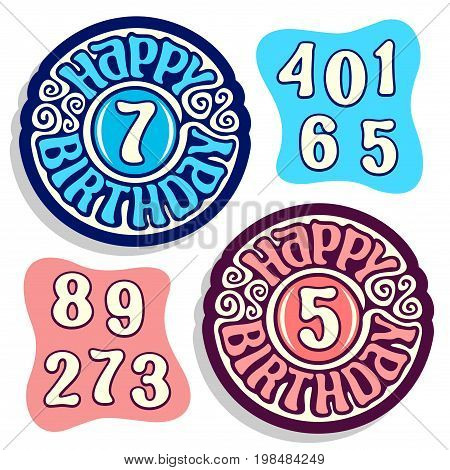 Vector logo for Happy Birthday: vivid blue sign for anniversary of boys kids and pale pink emblem for happy birthday girls children, constructor set with isolated numbers numeral for different ages.