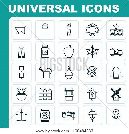 Gardening Icons Set. Collection Of Bloom, Hang Lamp, Bugbear And Other Elements