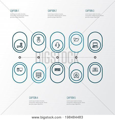 Hardware Outline Icons Set. Collection Of Peripheral, Earphones, Camera And Other Elements