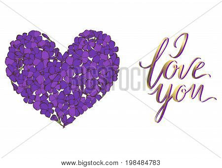Heart of violet phlox flowers isolated on white background and lettering I LOVE YOU. vector