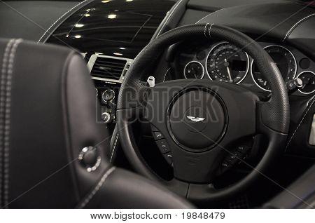 LONDON, UK - NOVEMBER 7: Interior of an Aston Martin DB9 Volante at the MPH motorshow, November 7, 2010 in London, United Kingdom