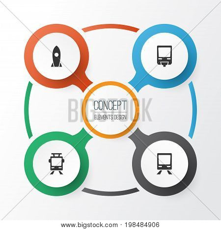 Transportation Icons Set. Collection Of Railway, Streetcar, Railroad And Other Elements