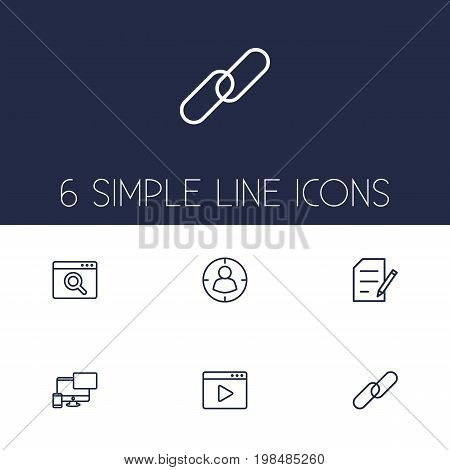 Collection Of Style, Url, Scan And Other Elements.  Set Of 6 Optimization Outline Icons Set.