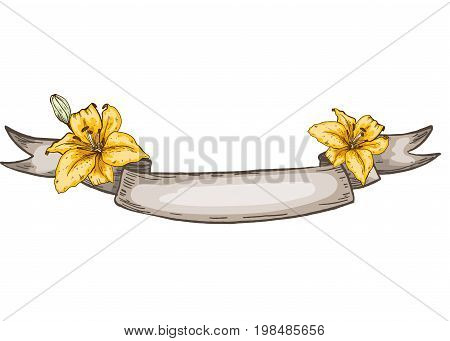 Decorative kraft ribbon and lily flowers. Isolated on white background.vector