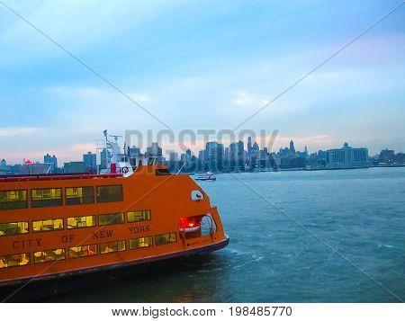 New York, USA - February 13, 2013: Staten Island Ferry, New York city, USA on February 13 2013