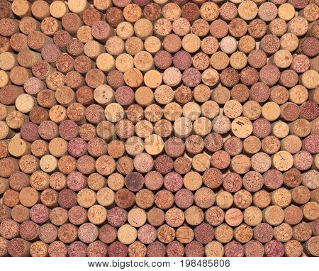 Wine corks background. Closeup of a wall of used wine corks. Different wine corks in background.