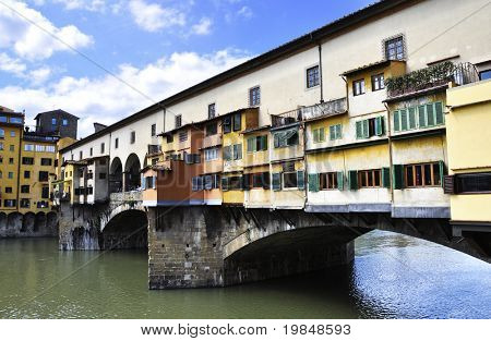 The Ponte Vecchio over the Arno river in Florence, Italy