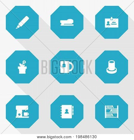 Collection Of Espresso , Data , Stand Elements.  Set Of 9 Workspace Icons Set.
