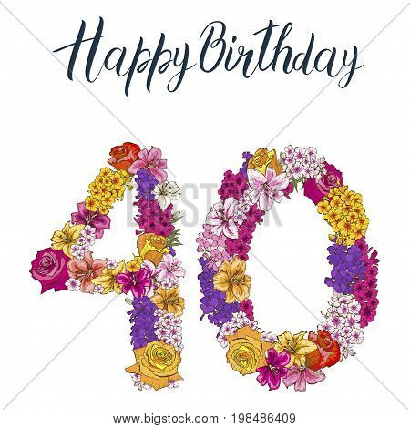 Forty digit made of different flowers isolated on white background. Happy birthday inscription. vector