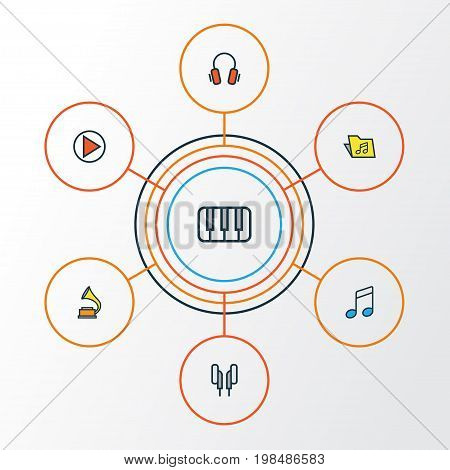 Audio Colorful Outline Icons Set. Collection Of Sound, Headphones, Earphones And Other Elements
