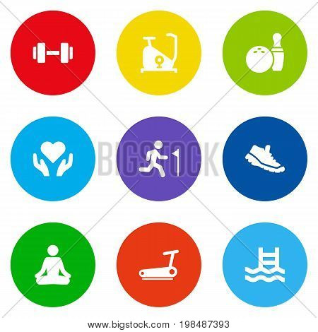 Collection Of Training Bicycle, Treadmill, Heart In Hand Elements.  Set Of 9 Fitness Icons Set.