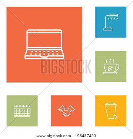 Collection Of Hot Drink, Notebook, Recycle Bin And Other Elements.  Set Of 6 Bureau Outline Icons Set.