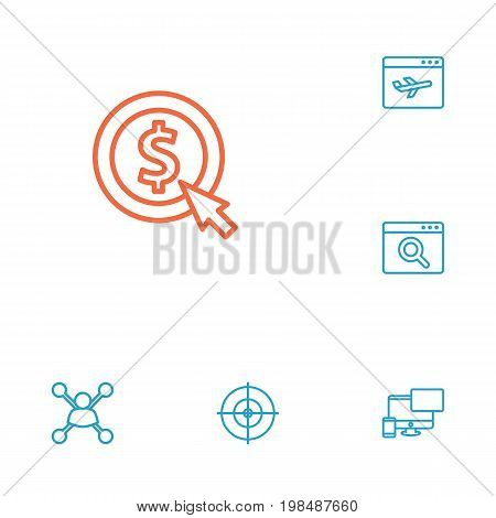 Collection Of Style, Stock Exchange, Scan And Other Elements.  Set Of 6 Engine Outline Icons Set.