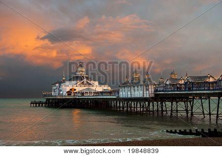 Eastbourne pier at sunset, England