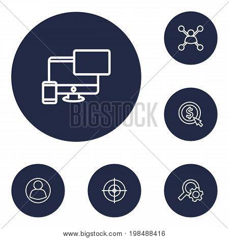 Collection Of Style, Item Identifier, Keywords And Other Elements.  Set Of 6 Engine Outline Icons Set.