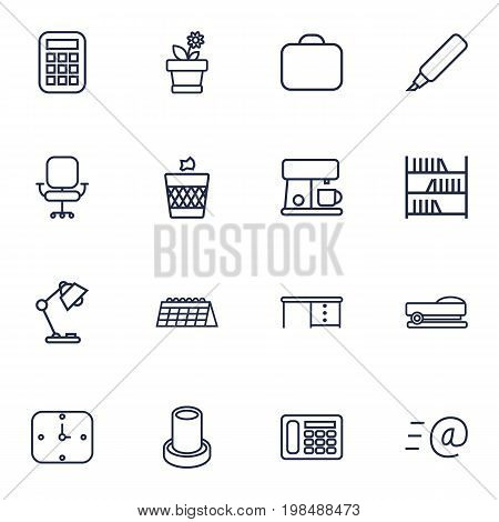 Collection Of Wastebasket, Marker, Briefcase And Other Elements.  Set Of 16 Office Outline Icons Set.