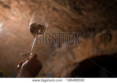 Sommelier enjoying the wine color in the old wine cellar