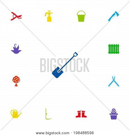 Collection Of Shovel, Axe, Spray Bootle And Other Elements.  Set Of 13 Horticulture Icons Set.