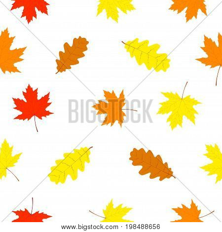 Falling leaves. Seamless pattern with autumn falling leaves. Vector illustration