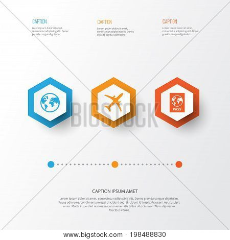 Traveling Icons Set. Collection Of Certificate, Land, Planet Elements