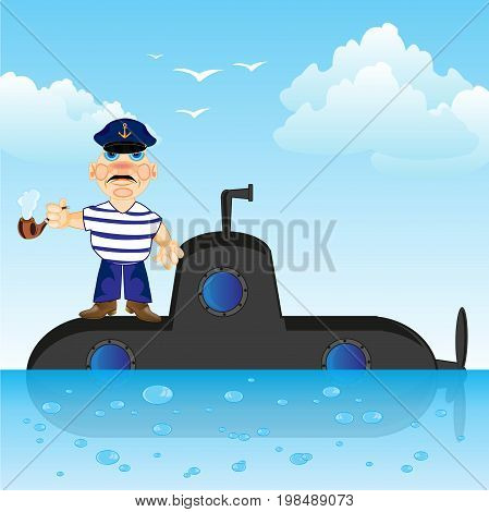 Submarine on surfaces of the ocean and captain with tube