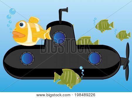 Blackenning submarine in ocean at the depth.Vector illustration