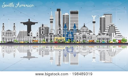 South America Skyline with Famous Landmarks and Reflections. Business Travel and Tourism Concept. Image for Presentation, Banner, Placard and Web Site.