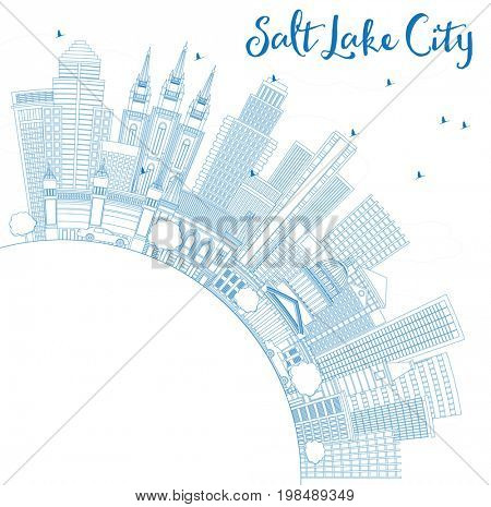 Outline Salt Lake City Skyline with Blue Buildings and Copy Space. Business Travel and Tourism Concept with Historic Architecture. Image for Presentation Banner Placard and Web