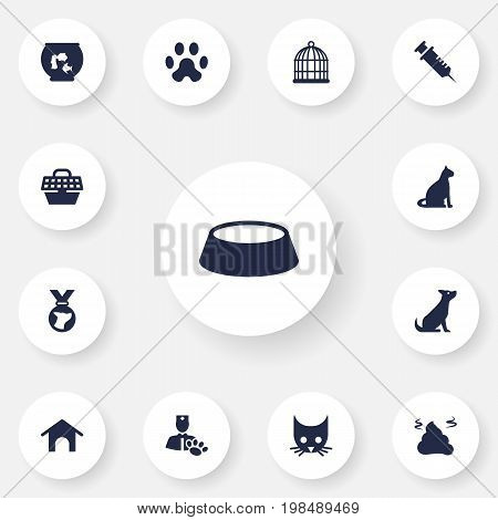 Collection Of Birdcage, Fishbowl, Veterinarian And Other Elements.  Set Of 13 Animals Icons Set.