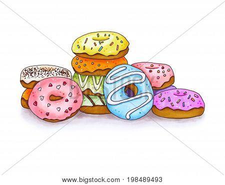 Set Of Colorful Donut. Hand Drawn Marker Illustration.