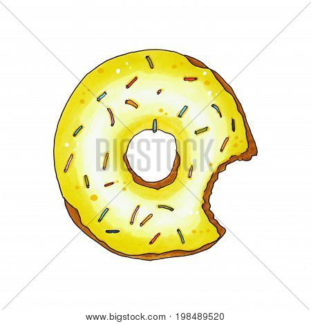 Bitten Donut With Yellow Glaze And Sprinkles. Hand Drawn Marker Illustration.