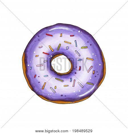 Donut With Violet Glaze And Sprinkles. Hand Drawn Marker Illustration.