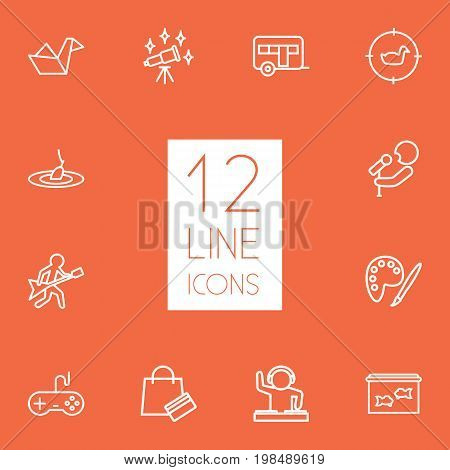 Collection Of Fishing, Aquarium, Astronomy And Other Elements.  Set Of 12 Lifestyle Outline Icons Set.