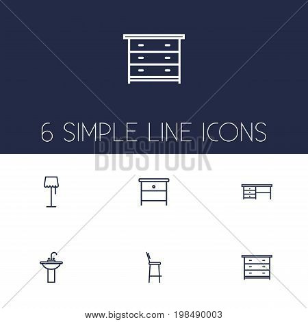 Collection Of Washbasin, Bar Stool, Desk And Other Elements.  Set Of 6 Situation Outline Icons Set.